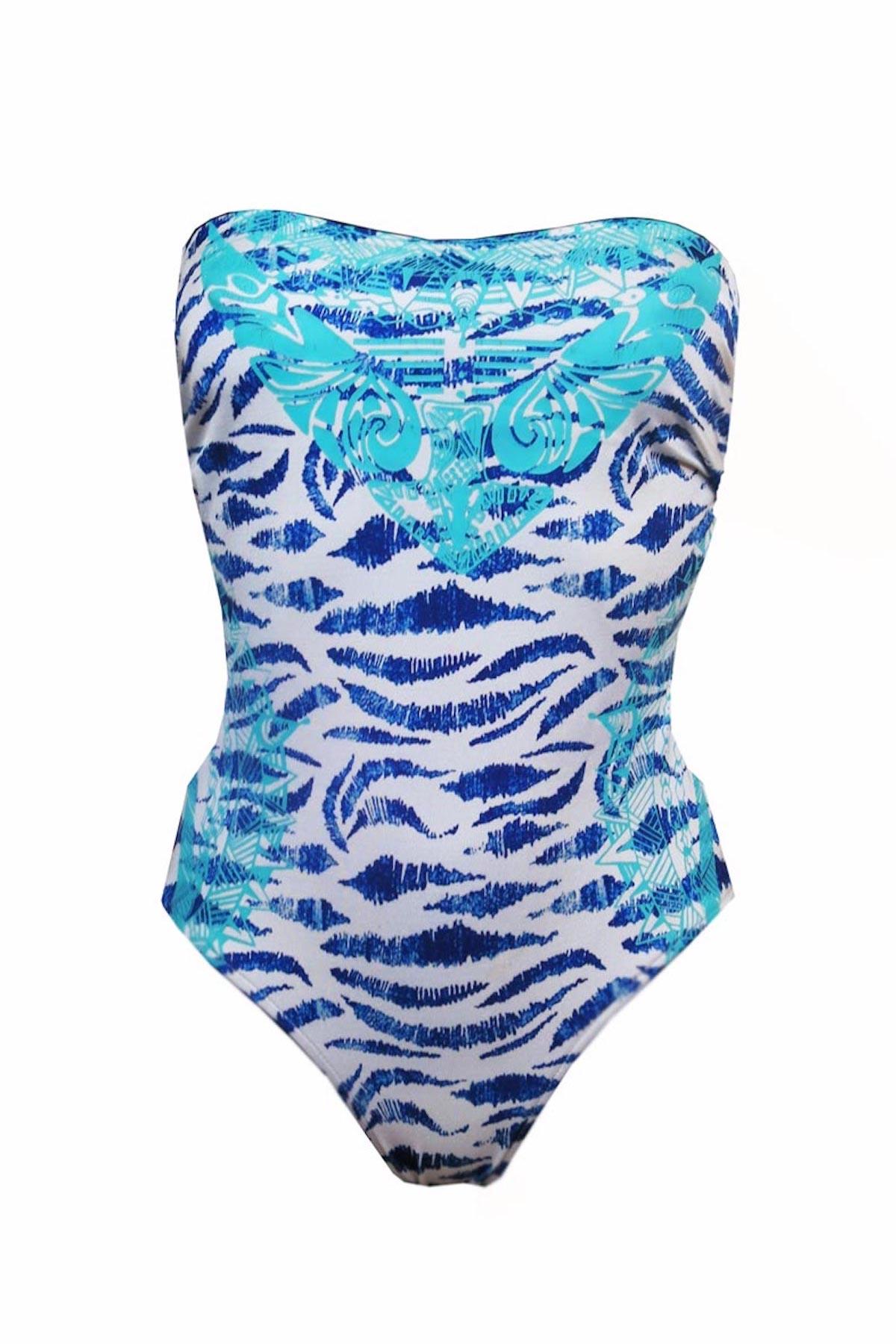 Maillot de bain une pièce bustier Aloha Tiger Blue