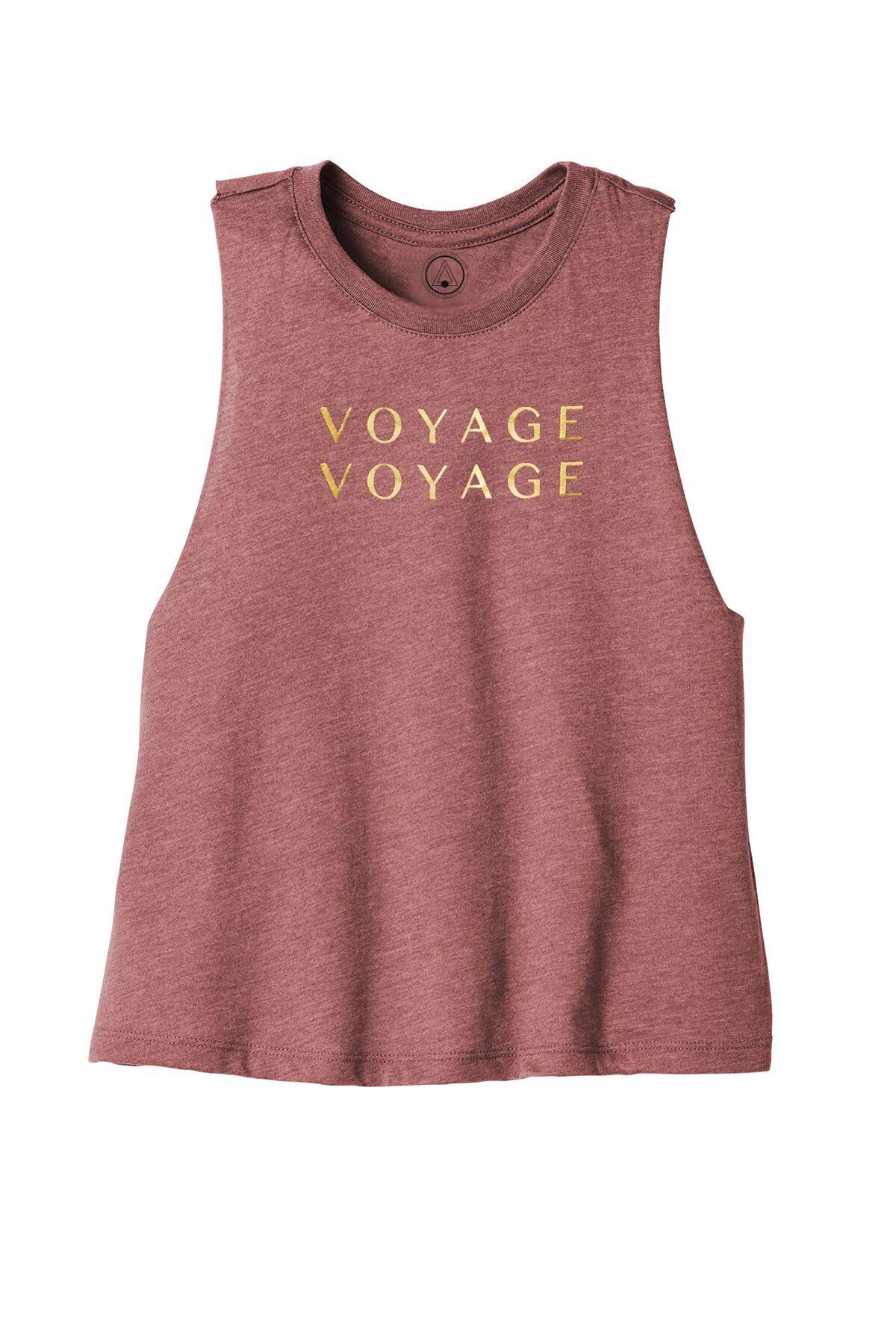 T-shirt bohème voyage voyage prune à sérigraphie or